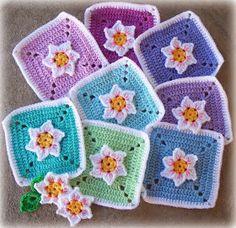 flower crochet squares - free pattern
