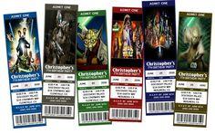Printable, customized Star Wars Movie Ticket birthday invitations