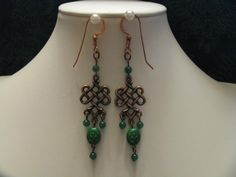 COPPER CELTIC KNOT Dangles with Green Glass Bead with Imprint of Shamrock Dangle and Green Adventurine Dangles by ROOTSJewelryandGifts on Etsy