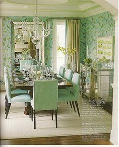 I like the mint color but not too sure about the pattern on the wallpaper or chair fabric