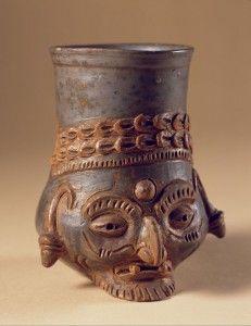 Vessel, face of old man; 900–1250 AD; Jutiapa region, Guatemala; Tohil Plumbate ceramic; Museo Nacional de Arqueología y Etnología, Guatemala City; Courtesy Peabody Essex Museum, photo © 2009 Jorge Pérez de Lara.