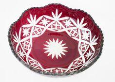 Red Crystal Bowl Vintage Czech / Bohemian Cut by oldandnew8, $22.00