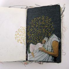 From the sketchbooks of artist Alison Worman, this one cleverly integrates a photo and stitching. #threadart