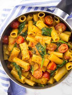 One Pot Pasta Recipes Vegan.One Pot Creamy Hummus Pasta This Savory Vegan. Presto Pasta Recipe Taste Of Home. One Pan Pasta With Tomato Sauce Olive Oil And Lemons . Vegetarian Recipes Dinner, Vegan Dinners, Veggie Recipes, Pasta Recipes, Dinner Recipes, Healthy Recipes, One Pot Vegetarian, Vegetarian Italian, Vegetarian Lifestyle