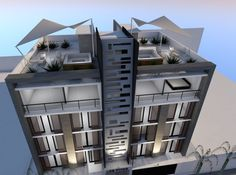 """Residential Complex """"Los Pinos"""" of Lima Arquitectos - Architectures Hotel Design Architecture, Office Building Architecture, Residential Architecture, Facade Design, House Design, Rooftop Terrace Design, Modern Apartment Design, Residential Complex, Modern Bungalow"""