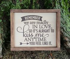 Madly In Love framed wood sign
