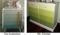 DIY painting furniture ombre effect - On the left the inspiration (from www.norskeinteriorblogger.blogspot.com ), on the right, my attempt for our newborn daughter, the chest of drawers was originally raw pine