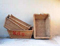 Large vintage French Laundry Baskets