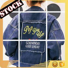 L1672 Wholesale Fashion Clothing 2017 Women Denim Jacket Fall and Winter Wash Print Tape Loose Short Jean Coats Plus Size