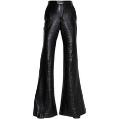 Ellery Women Flared Nappa Leather & Wool Pants (70.690 UYU) ❤ liked on Polyvore featuring pants, bottoms, trousers, leather, black, wool trousers, flared pants, woolen pants, flare trousers and faux-leather pants