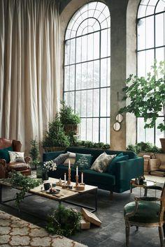 Dark Green Sofa That – Home Interior Design Ideas – Sofa Design 2020 Home Living Room, Living Room Decor, Living Spaces, Bedroom Decor, Wall Decor, Living Room Inspiration, Interior Design Inspiration, Interior Ideas, Interior Exterior