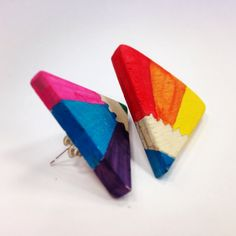 Coloured pencil earrings by a year 9 3D design student