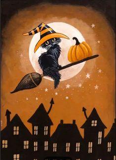 Retro Halloween, Halloween Kunst, Halloween Artwork, Halloween Magic, Halloween Painting, Halloween Pictures, Holidays Halloween, Spooky Halloween, Halloween Pumpkins