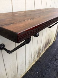 The Lodge Mantel Wall Mounted Bar Table Shelf Reclaimed Wood Bookshelf Floating Shelf Bar Pub Table Floating Table, Reclaimed Wood Floating Shelves, Floating Shelves Bedroom, Wooden Floating Shelves, Wood Mantel Shelf, Wood Mantels, Wood Bookshelves, Wood Shelves, Pipe Shelving