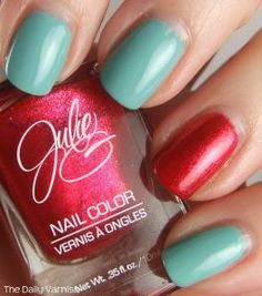 Definitely inspired to mix Red My Lips and Jaded into a manicure like this!  Nailspiration Tiffany's v1 2