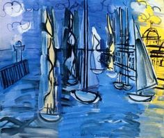 Blue Boats Artwork by Raoul Dufy