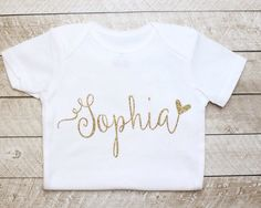 Baby girl clothes, Personalized Gold Glitter Baby Girl Onesie, gold glitter…