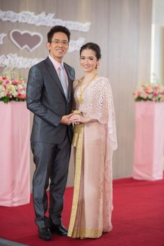 Pink and Gold Thai dress. Thai Traditional Dress, Traditional Clothes, Thai Wedding Dress, Wedding Dresses, Thai Thai, Thailand Wedding, Thai Dress, Wedding Inspiration, Wedding Ideas