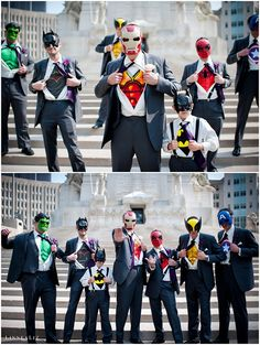 Spotlight: Grooms and Groomsmen Style Trends - Batman Wedding - Ideas of Batman Wedding - Ślubni Superbohaterowie Marvel Wedding, Batman Wedding, Geek Wedding, Wedding Humor, Dream Wedding, Wedding Superhero, Superhero Wedding Pictures, Iron Man Wedding, Groom And Groomsmen Style