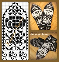 Floral pattern for mittens Knitted Mittens Pattern, Knit Mittens, Knitted Gloves, Knitting Socks, Knitting Charts, Free Knitting, Knitting Patterns, Crochet Patterns, Knitting Designs