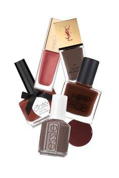 Double Mocha-YSL La Laque Couture in Taupe Mauresque, $25; nordstrom.com; HIPPxRGB Nail Polish in T4, $16; rgbcosmetics.com; Essie Nail Polish in Mink Muffs, $8; macys.com; Ciaté Nail Pot in Pecan Pie, $15; nordstrom.com; Dolce & Gabbana Nail Polish in True Monica Gentle, $26;