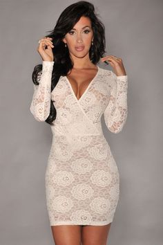 White Lace Long Sleeves Bodycon Dress LAVELIQ Material: Polyester + Spandex Color: White Style: Cute, Club, Sexy Occasion: Night Club, Summer, Spring, Autumn, Party Dresses Pattern: Solid Neckline: V-