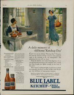 BLUE LABEL 1924 Vintage Magazine Ketchup Ad