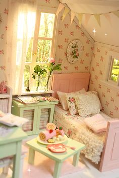 PASTEL COTTAGE Diorama   Flickr - Photo Sharing! Miniature shabby chic bedroom.