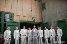 My groom with dusty pink & his groomsmen with purple grey ties