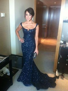 Navy Blue Prom Dresses,Sequin Evening Dress,Sequined Prom Gowns,Mermaid Prom Gown,Beautiful Formal Gown,Evening Dress With Straps PD20185253