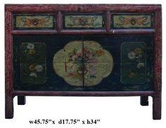 Negro Vintage Flower Vase mongoles tablas Tabla gabinete asiático auxiliares y mesas de acento