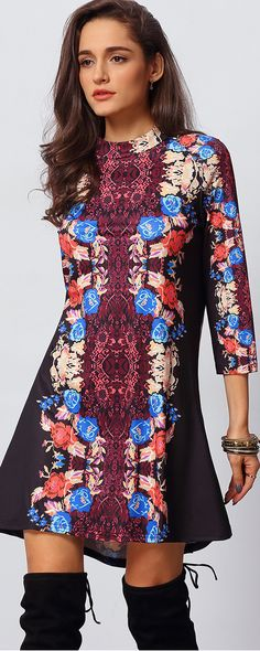 Love this Print ! Love this Dress Design! Multicolor Round Neck Vintage Print Dress, if you like , click shein.com. Discounts.