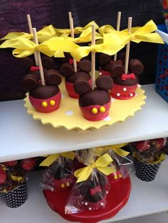 Mickey candy apples at a Disney Graduation Party!  See more party ideas at CatchMyParty.com!