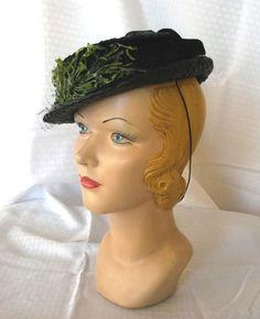1930's Vintage Tilt Hat with Grass Trim 22 1/2 by MyVintageHatShop, $42.00
