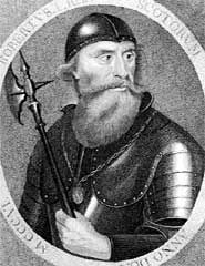 Robert I (1274-1329), popularly known as Robert the Bruce, was King of Scots from 1306, until his death in 1329. He became one of Scotland's greatest kings and one of the most famous warriors of his generation, leading Scotland during the Wars of Scottish Independence against the Kingdom of England. He claimed the Scottish throne as 4th great-grandson of David I, and fought successfully during his reign to regain Scotland's place as an independent nation. Bruce is remembered as a national hero.