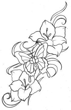 tattoo vorlage mit schmetterling und hibiskus blumen meine tattoo vorlagen pinterest blume. Black Bedroom Furniture Sets. Home Design Ideas