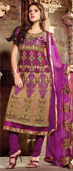 Golden and Magenta Faux #Georgette Flared #Churidar Kameez @ US $127.26 | Shop Here: http://www.utsavfashion.com/store/sarees-large.aspx?icode=kcr3906b