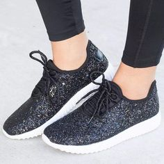 MoneRffi Women Glitter Bling Gold Silver Shoes Sneakers Sparkly Casual Lace Up Walking Metallic Sequins LightWeight Jogger Shoes Color Gold Shoe Size 6 Sparkle Shoes, Glitter Flats, Glitter Bomb, Black Glitter, Casual Heels, Casual Sneakers, Ladies Sneakers, Sneakers Style, Summer Sneakers