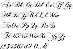 calligraphy letters and numbers