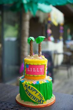 Luau birthday party cake! See more party ideas at CatchMyParty.com!