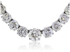 18K White Gold Round Diamond Tennis Necklace. Diamond: Approximately 50.94ct. Total Weight of Round Diamonds, Color: H/I, Claritry: SI