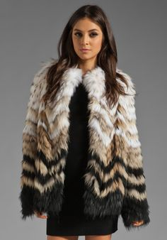 THEORY Tersk Cassius Fur Coat in White/Natural/Black Green at Revolve Clothing