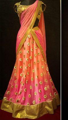 Half Sarees are in this season. Stunning half saree, ombre melon and gulabi with zari and gota work. Indian Attire, Indian Ethnic Wear, India Fashion, Ethnic Fashion, Indian Dresses, Indian Outfits, Indian Clothes, Lehenga Style, Pink Lehenga