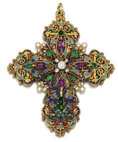 Gem-Set Enamel and Diamond Cross Pendant
