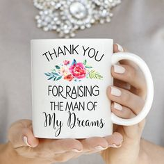Thank You For Raising The Man Of My Dreams by BulletBabeDesigns  Coffee, coffee cup, coffee mug, wedding gift, gift for mom, bride gift, gift for bridal, bridal shower gift, funny coffee cup , funny coffee mug, bridesmaid gift, maid of honor, wedding, wedding favor, wedding mug, engagement mug , engagement, mothers day gift, expecting mom, mommy to be, fitness, wifey, bride gift, engagement gift, beard, fiance, does this ring make me look engaged, wedding ring, engagement, bridal party…