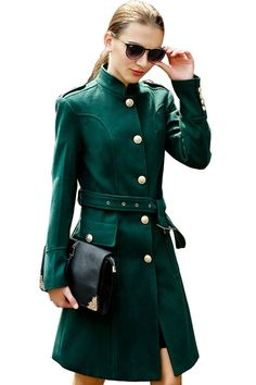 Glamorous Solid Belt Metal Button #Wool Trench #Coat - OASAP.com