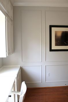Benjamin Moore Gray Owl paint - Love the panels painted in a colour, and then the crown molding! Gray Owl Paint, Judges Paneling, Benjamin Moore Grey Owl, Greige Paint Colors, Grey Office, Favorite Paint Colors, Painting Trim, Home Interior Design, Home Remodeling