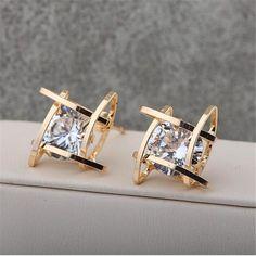 18K Gold Plated Crystal Stud Earrings For Women  #love #followme #spring #fashion #onlineshopping #instalove #instagram #instagood #summer #tumblr