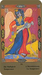 Temperance from the Kazanlar Tarot at TarotAdvice Major Arcana, Tarot Reading, Tarot Decks, Tarot Cards, Virgo, Wands, Art Gallery, Spirituality, History