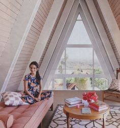 Actress Jordana Brewster's amazing A-frame home, featured in In Style Magazine  #tiny houses #country living